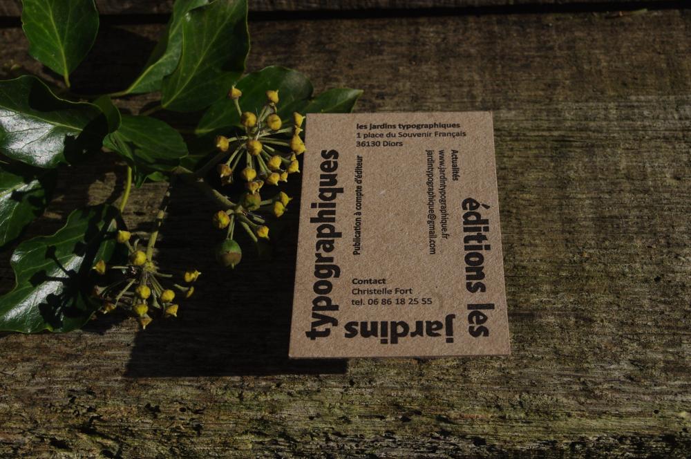 Carte de visite les éditions les jardins typographiques